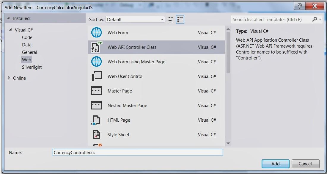 Currency Converter using AngularJS, ASP NET Web API and Web