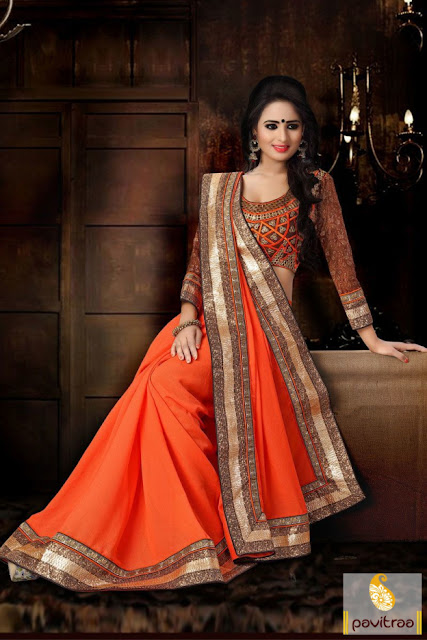 Diwali special and wedding waer orange brown georgette net designer saree online discount rate at pavitraa.in