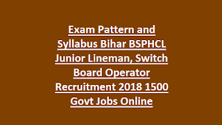 Exam Pattern and Syllabus Bihar BSPHCL Junior Lineman, Switch Board Operator Recruitment 2018 1500 Govt Jobs Online