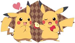 Two Pikatchus eating apples and love