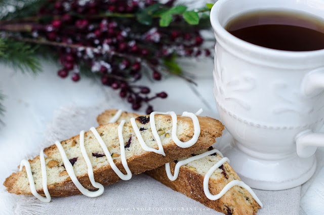 Cranberry Pistachio Biscotti and coffee