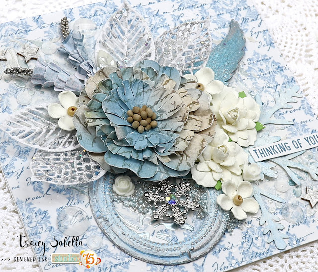 Frosty Wintry Mixed Media Card by Tracey Sabella for Studio75 #studio75 #mixedmedia #shabbychic #shabbymixedmedia #finnabair #primamarketing #winter #handmadecard #handcraftedcard #mixedmediacard #acmoore #littlebirdiecrafts #prills #heidiswappcolorshine #helmar #stampendous