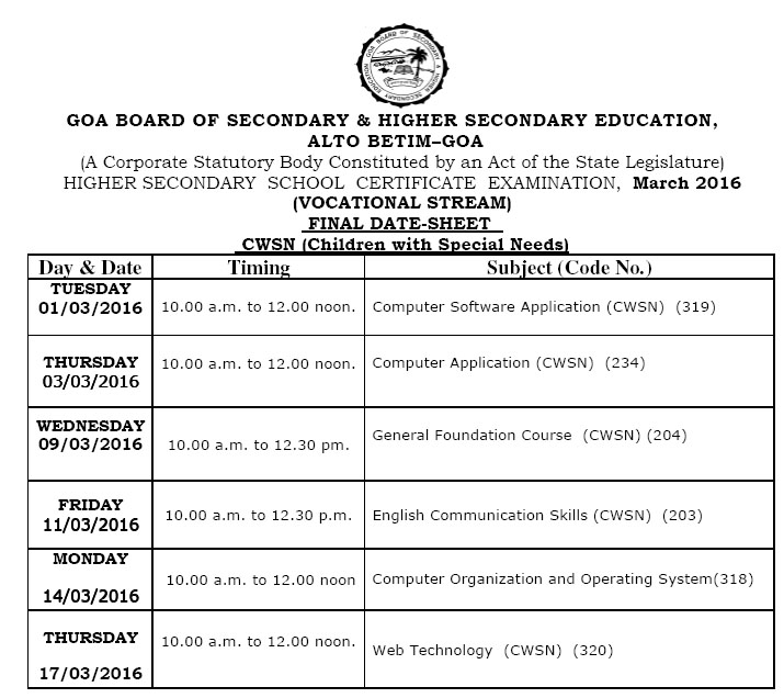 GOA Board 12th Class Time Table 2016