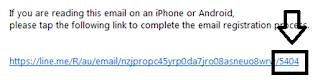 Kode verifikasi Line melalui email