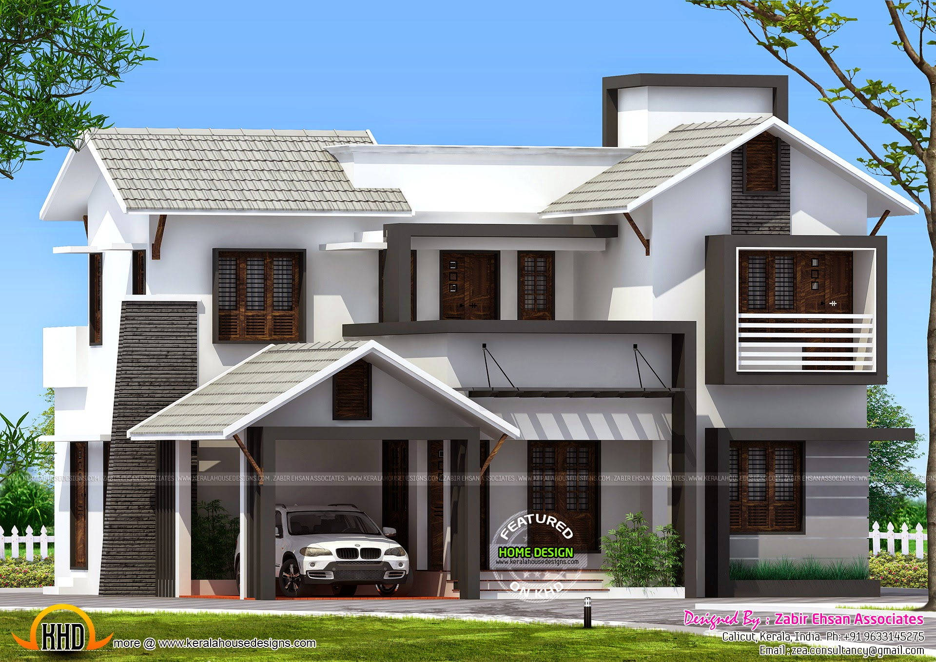 179 sqm mixed style house exterior kerala home design Kerala style house exterior designs