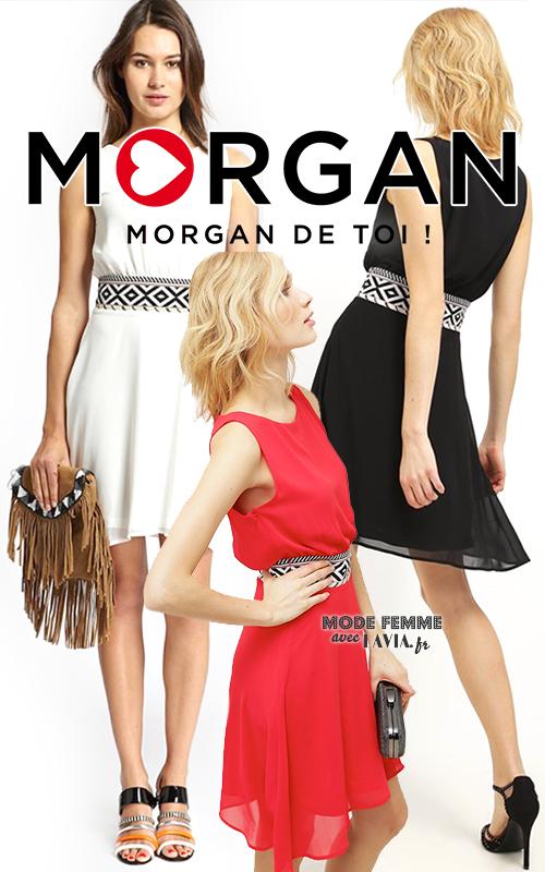 Robe courte en voile noire, rouge ou blanche Morgan