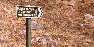 Public footpath sign to Corrour and Rannoch below Ben Nevis