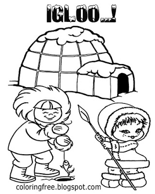 Frozen northlands icecap Eskimo fishing ice shelter igloo printable coloring pages for teenagers art