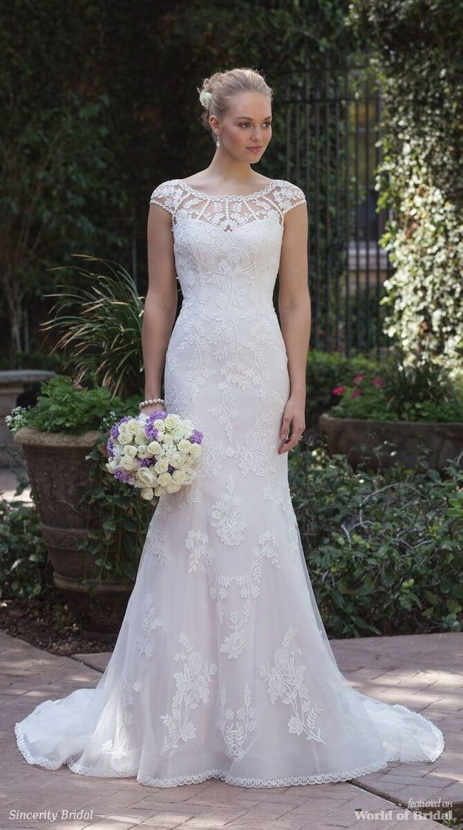 Sincerity Bridal Spring 2018 Allover Lace Fit and Flare Dress with Sabrina Neckline