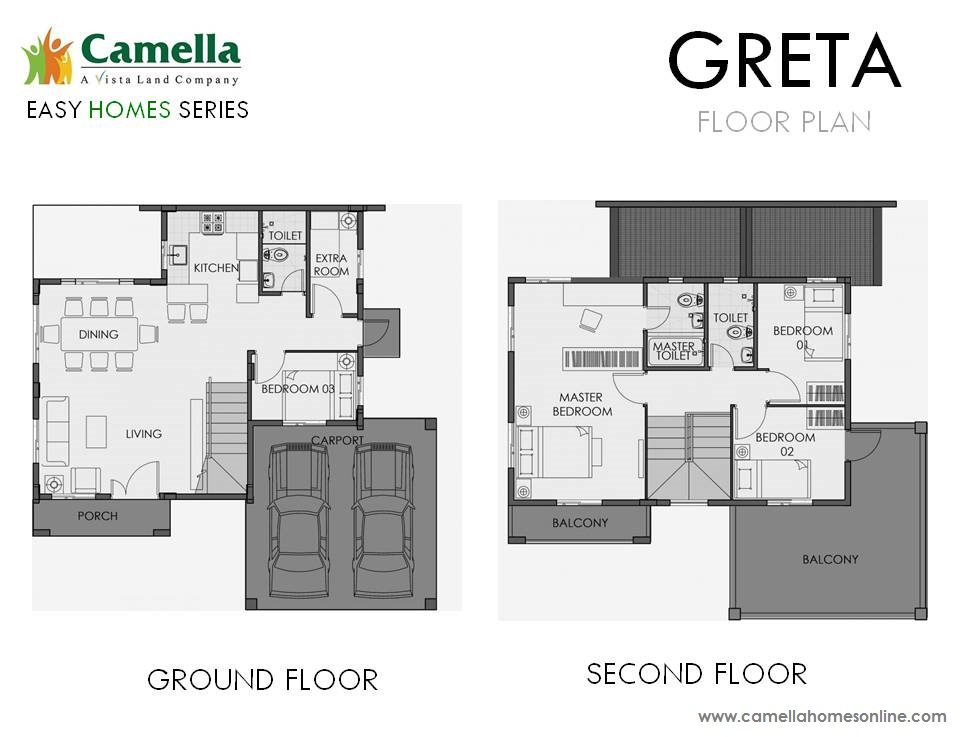Floor Plan of Greta - Camella Belize | House and Lot for Sale Dasmarinas Cavite