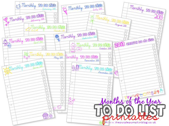 Months of the Year To Do Lists [Free Printables] at The Purple Pumpkin Blog