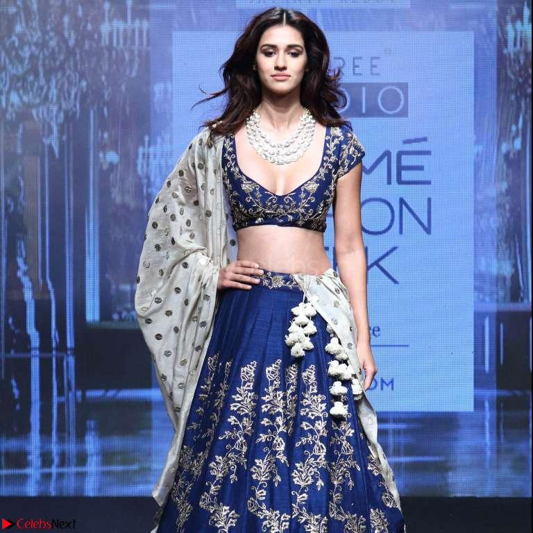 Disha Patani in Beautiful Blue Chania Choli Lehenga at Lakme Fashion Week Summer Spring 2017