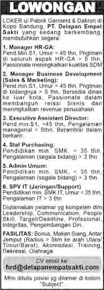 Lowongan Kerja PT Delapan Empat Sakti, Manager, Staff, Admin, Supervisor