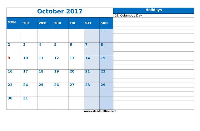 Free October 2017 Printable Calendar - Blank Templates