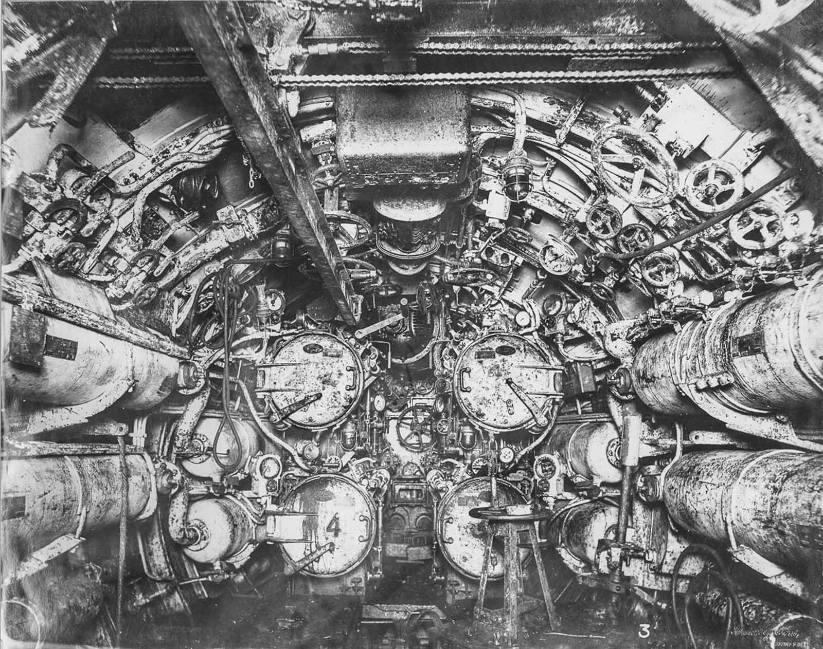 Forward torpedo room.