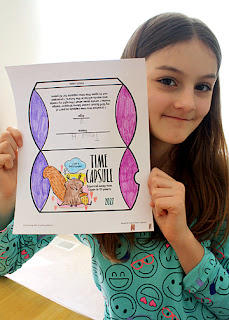 The time capsule was Tessa's favorite part of the Junior Savvy Shopper badge. She was super psyched and got creative with her coloring. She even sketched a bed for her squirrel to comfortably rest in for the next ten years.