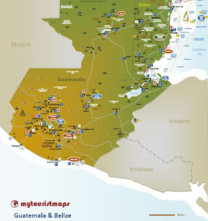 interactive tourist travel map GUATEMALA & BELIZE