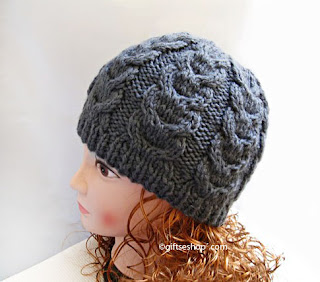 Knitting pattern cable beanie hat
