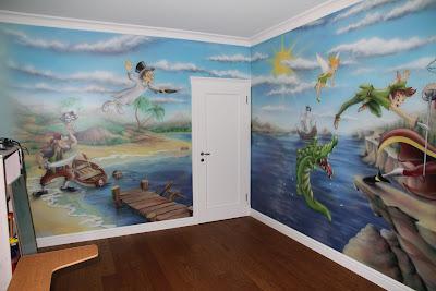 Malowanie ściany w pokoju chłopca, malowidło ścienne 3D