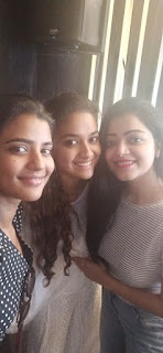 Keerthy Suresh with Cute and Awesome Lovely Smile with Janani and Aishu