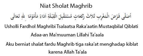 Bacaan Niat Sholat Maghrib