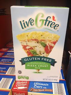 A box of liveGfree Gluten Free Pizza Crust Mix, in an Aldi store
