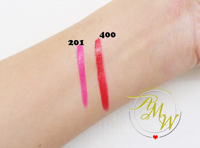 a swatch photo of Make Up For Ever Fuchsia Pink (201) Artist Acrylip and Make Up For Ever Iconic Red (400) Artist Acrylip