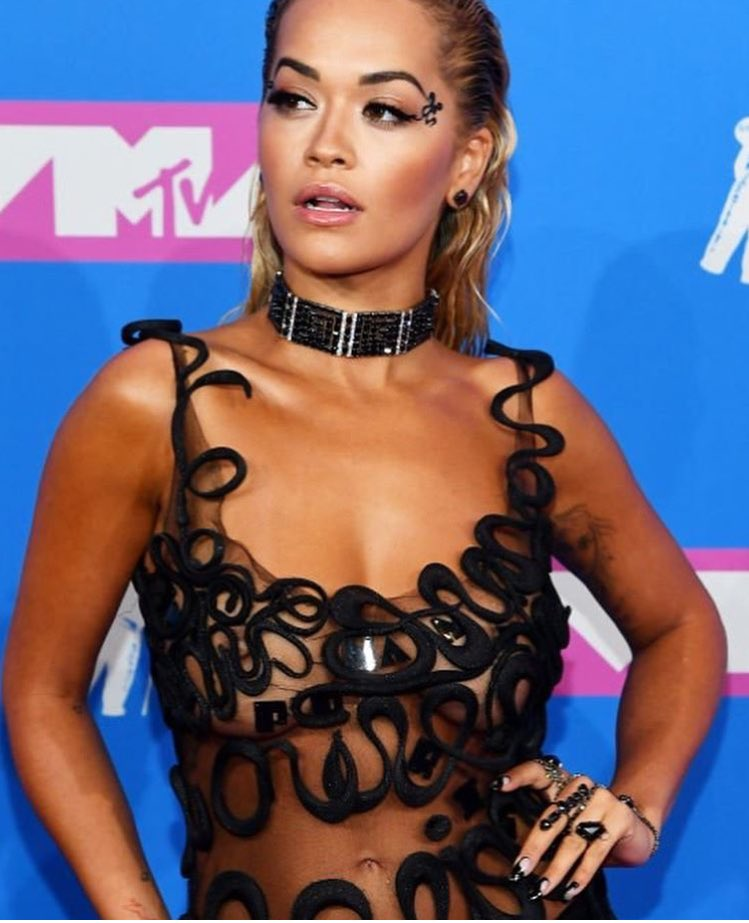 Rita Ora bares all in nearly nude dress at the 2018 MTV VMAs