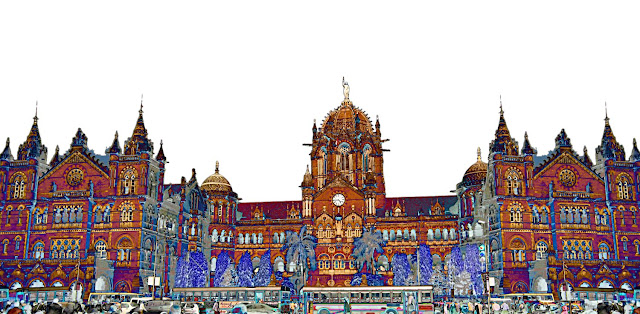 vt station in mumbai illustration