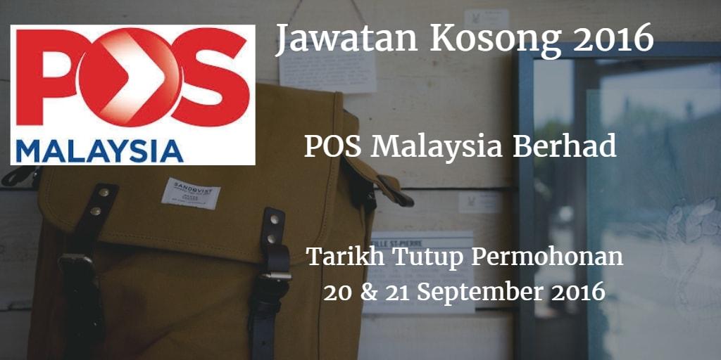 Jawatan Kosong Pos Malaysia Berhad 20 & 21 September 2016