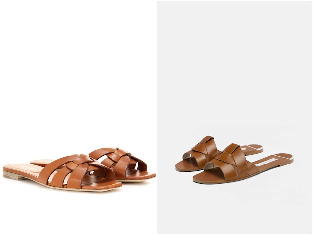 Saint Laurent's Nu Pieds 05 vs Zara's leather cross-over sandals on Island Atelier