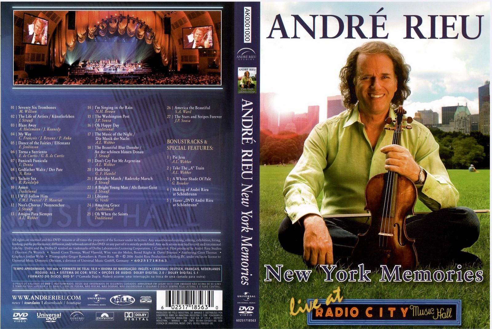 Capas Medina  Somente Capas de DVD Andr Rieu  New York Memories