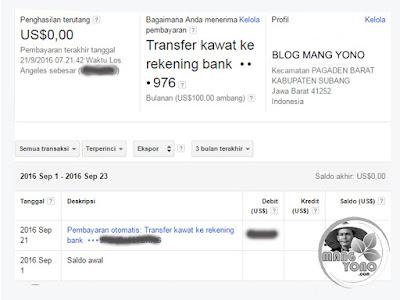 Pembayaran otomatis Google Adsense. Transfer kawat ke rekening bank