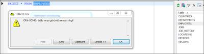 Oracle ORA-00942 Table or View Does Not Exist Hatası ve Çözümü