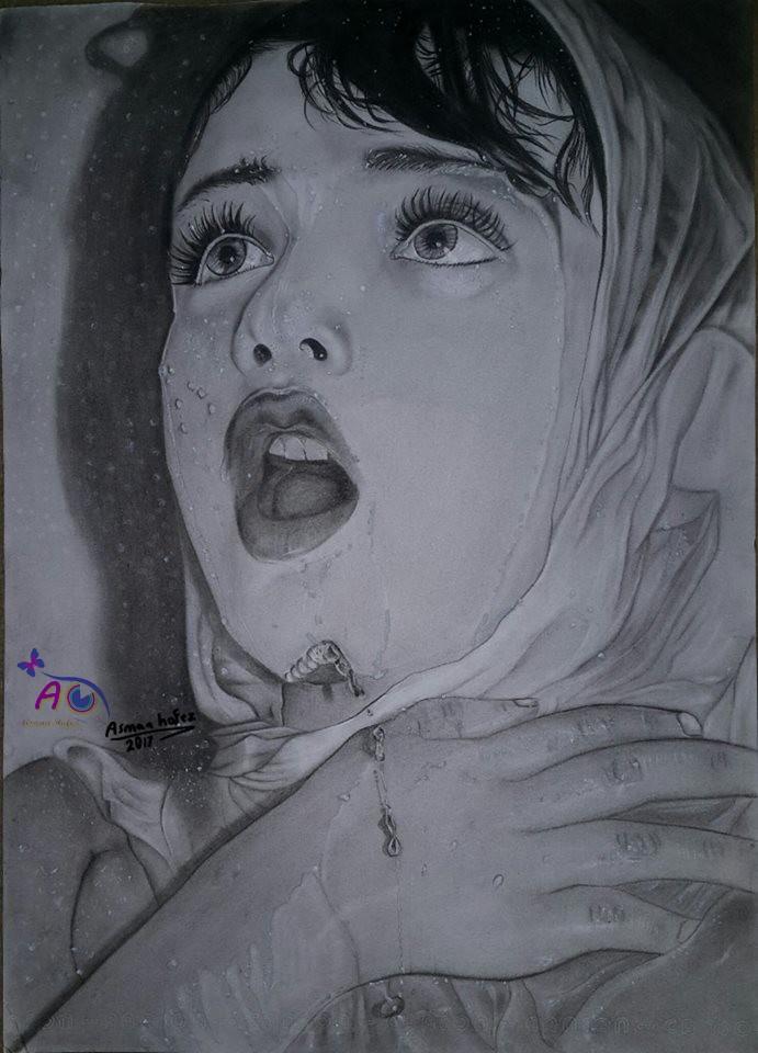 رسم طفلة مبللة بالماء