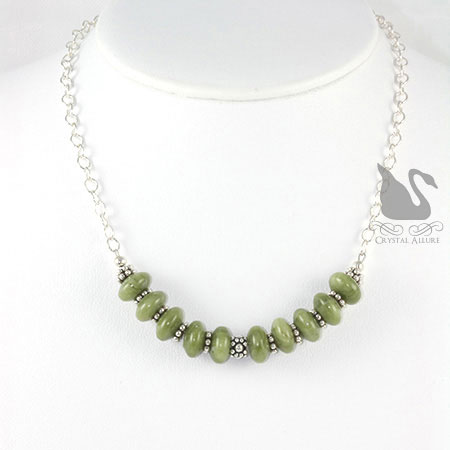 Nephrite Jade Gemstone Beaded Necklace (N049) -on bust