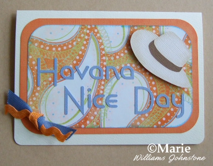 Blue and orange color card with Havana hat