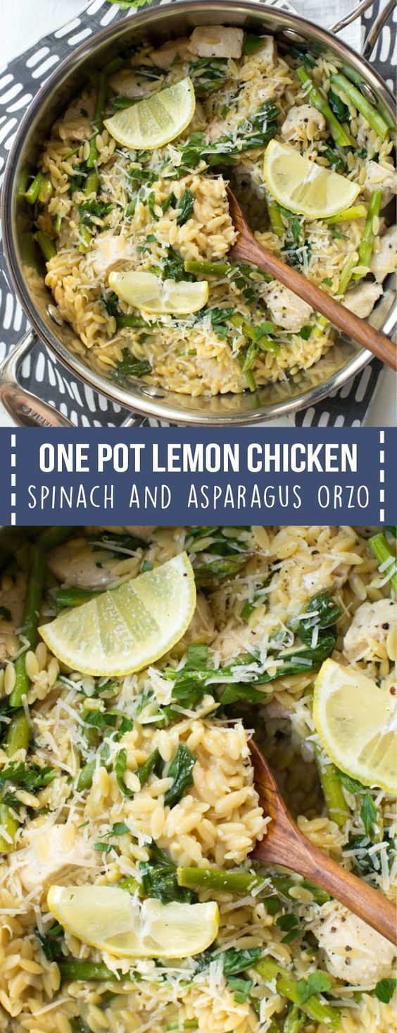 ONE POT LEMON CHICKEN, SPINACH AND ASPARAGUS ORZO