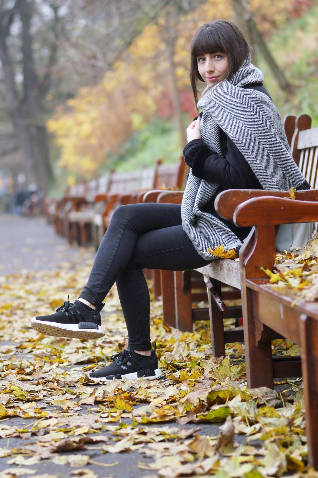 Hello Freckles Aviator Jacket Street Style Edinburgh Travel Adidas NMD Princes Street Winter