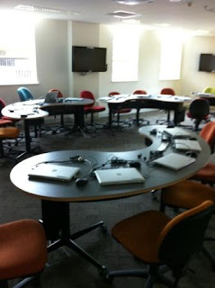Desks in the ANU Ethel Tory Collaborative Learning Studio