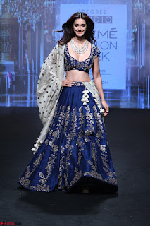 Disha Patani in Beautiful Blue Chania Choli Lehenga at Lakme Fashion Week Summer Spring 2017 4.jpg