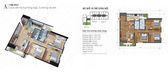 thiết kế căn hộ ecolife tây hồ 106,9m
