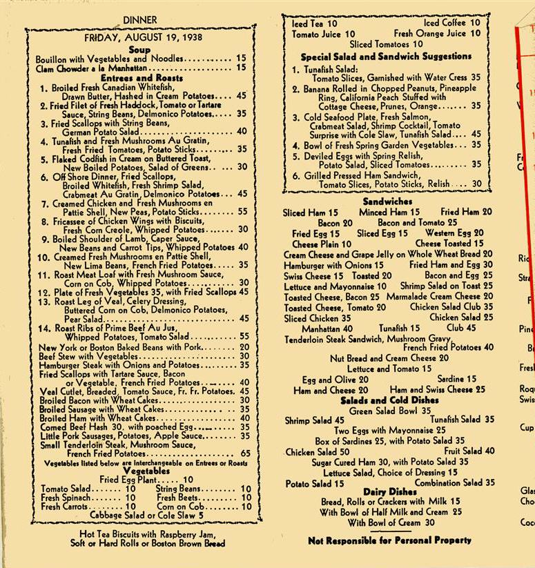 List Of Food Prices During The Great Depression