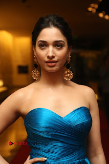 Actress Tamannaah Pictures in Blue Long Dress at Abhinetri Audio Launch  0015
