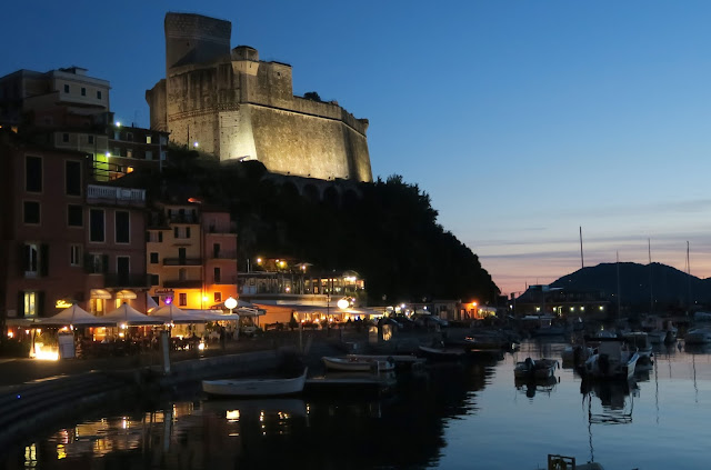 Lerici Harbor and Castle at twilight.