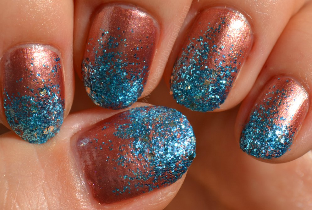 glitter manicure, sponging, notd, nails of the day