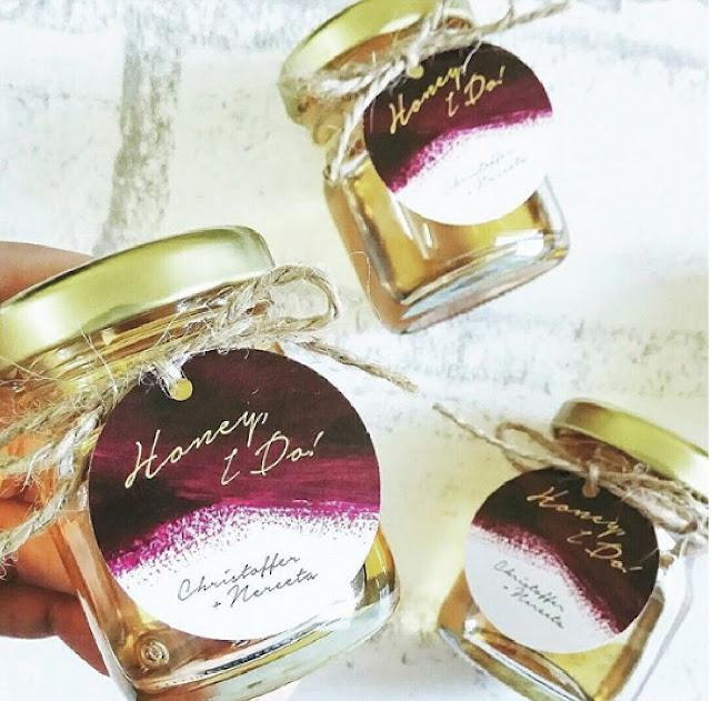 Burgundy Themed Honey Doorgift with Tag Label, Rustic Garden Wedding Kuala Lumpur Malaysia