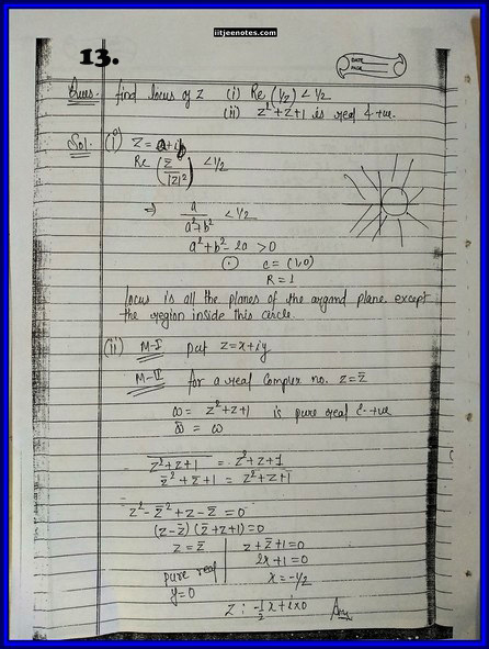 iitjee notes on complex number 13