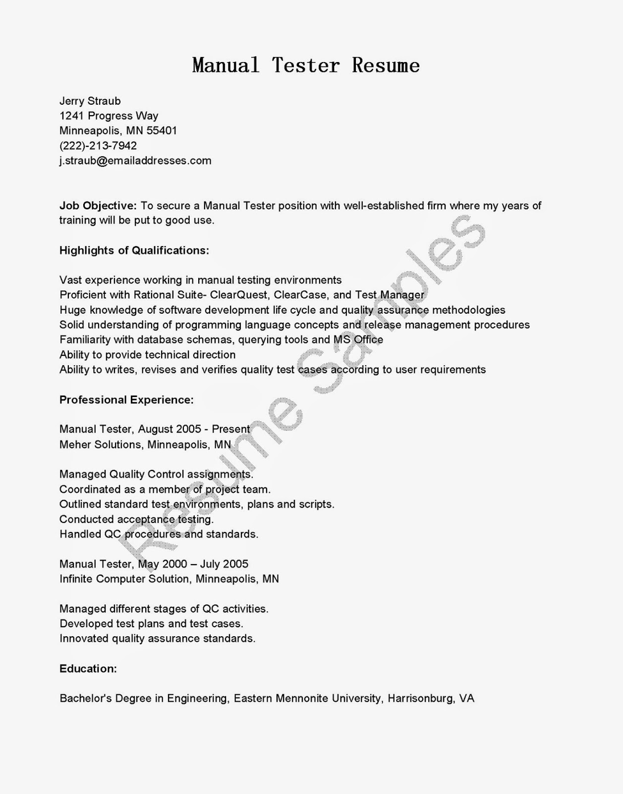 Resume samples manual tester resume sample for Sample resume for manual testing professional of 2 yr experience
