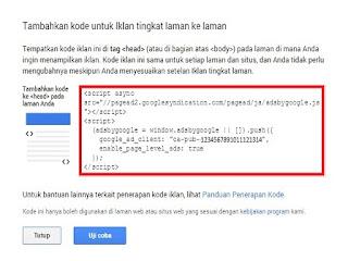 Contoh unit kode iklan Page Level Ads